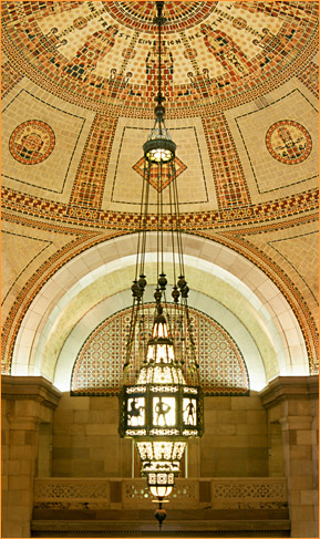 City Hall rotunda with restored chandelier